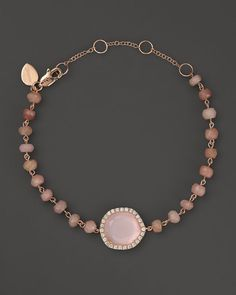 Meira T Rose Gold Rose Quartz and Pink Opal Bead Bracelet with Diamonds Jewelry & Accessories - Bloomingdale's Gems Jewelry, Diamond Jewelry, Jewelry Accessories, Fine Jewelry, Jewelry Box, Rose Quartz Serenity, Serenity Color, Best Jewellery Design, Pink Opal