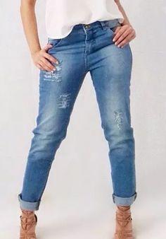 calça jeans destroyed feminina rasgada cintura média