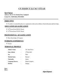 Resume Types Resume Format Examples For Job  Resume Format  Pinterest  Simple .
