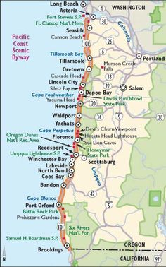Oregon Map Image.Simple Oregon Coast Map With Towns And Cities Oregon Coast In
