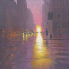 ARTFINDER: Sunset On Broadway by Mark Harrison - Another of my rainy paintings…