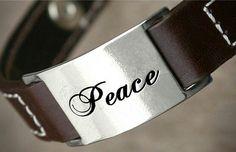 Peace fashion men leather bracelets