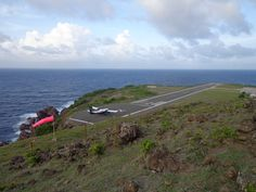Winair on the runway of Juancho E. Yrausquin Airport on Saba, Dutch Caribbean  #Saba #Caribbean #airport #Winair