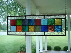 Stained Glass Panel Multi Colors Window Transom by TheGlassShire