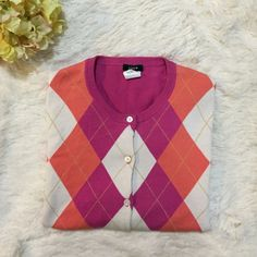 JCrew sweater Pink, orange and white button up  argyle JCrew sweater. J. Crew Sweaters