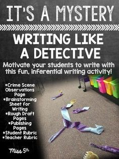 Get your kids motivated and excited about writing with this fun activity. This activity will get them writing from a detective's perspective; perfect for Halloween-time or when you are teaching your kiddos about making logical inferences. Writing Prompts For Kids, Writing Strategies, Writing Lessons, Teaching Writing, Writing Activities, Teaching Biology, Stem Activities, Creative Writing, Writing Tips