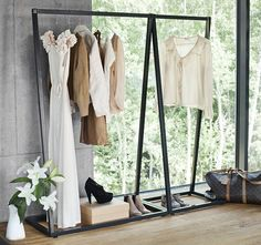 This elegant coat rack is suitable to be used as a single rack or combined together for added versatility. The coat rack allows the clothes to be in the center of attention due to its minimalistic look. Available in charcoal gray and white. Material: Metal Small: H: 1550mm W: 600mm D: 450mm Large: H: 1550mm W: 1000mm D: 450mm Please allow 3-4 weeks for shipping.