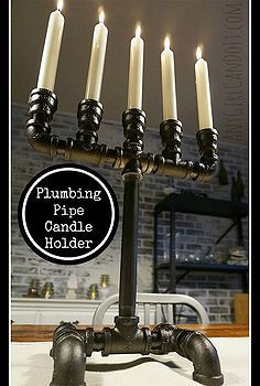 candle holder plumbing pipe upcyle repurpose industrial, plumbing