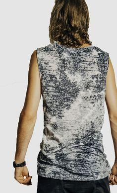 Available in grey rain burnout or brown animal burnout. Modern Mens Fashion, Drop Crotch, Short Cuts, Modern Man, Collars, Tank Man, Rain, Menswear, Animal