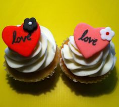 Romantic anniversary, wedding, birthday fondant cupcake toppers! Heart toppers!