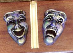 set of 2 Handpainted Ceramic Mardi Gras mask wall by JerrysShoppe