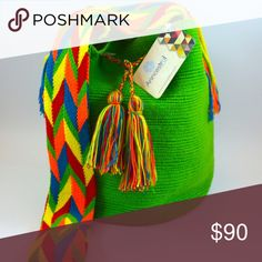 UNIQUE Colombian Wayuu Bag ORIGINAL Woven bag and braided strap. 100% cotton. Bohemian and summer bag. HANDMADE. Anncestral Bags Shoulder Bags