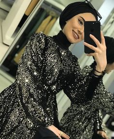 Image may contain: 1 person sitting phone and indoor Tesettür Tunik Modelleri 2020 Hijab Dress Party, Hijab Wedding Dresses, Hijab Outfit, Muslim Girls, Muslim Women, Abaya Fashion, Modest Fashion, Simple Style, Style Me