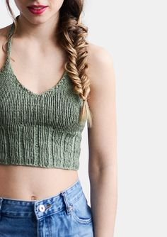 Knit Halter Top in Light Olive Knit Bralette Top Pastel Crochet Bra, Crochet Clothes, Cropped Tops, Knitting Patterns Free, Knit Patterns, Top Crop Tejido En Crochet, Bralette Pattern, Crop Top Pattern, Bralette Crop Top