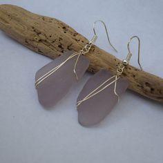 Purple Seaglass Earrings by BeachBumsLife on Etsy