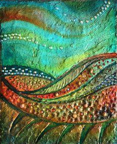 """Mischtechnik abstrakte """"The Spring Hill"""", kleine Wandskulptur, moderne abstrakte Malerei"""
