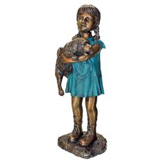 Bronze statue of a cute pig-tailed young girl holding her beloved dog. This charming statue is almost three feet tall and would be a beautiful addition to any garden, Click image for pricing. Affiliate Link.