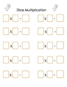 Dice Multiplication *re-create worksheet could laminate or put sheet savers on top to create re-useable/washable worksheets.