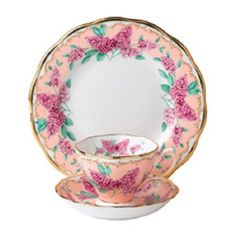 Royal Albert Sentiments Lilac Teacup Saucer And Plate Trio Set