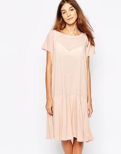 Ganni Drop Waist Dress With Peplum Frill