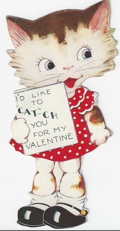 """Vintage: """"I'd Like to """"CAT""""ch You For My Valentine"""""""