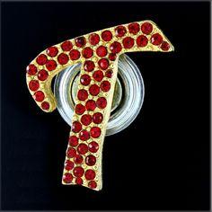 Red Hat Society Magnetic T Initial Pin w/Swarovski Crystals  + BLACK DIAMOND  #Affinitydiamondjewelry