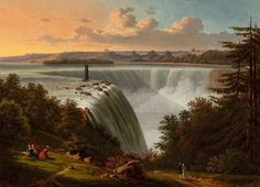 """""""Niagara Falls,"""" Victor de Grailly, ca. oil on canvas, 17 x Hunter Museum of American Art. Landscape Art, Landscape Paintings, Landscapes, A4 Poster, Poster Prints, Hudson River School Paintings, Hunter Museum, Autumn Painting, Water Me"""