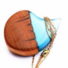 Australian Upcycled Wood & Turquoise Blue Resin Pendant, Teardrop Pendant, Brass Tube, Turquoise Blue Necklace, Handmade Upcycled Jewelry