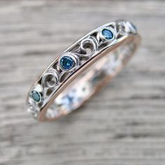 Blue Diamond Wedding Ring in Two Tone 14K White and Rose Gold