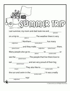 Summer Trip Mad Libs