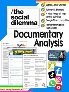 Digital and printable tasks for the ground-breaking 2020 drama-documentary 'The Social Dilemma'. Each task is designed to unpack and draw out the lessons of the documentary and encourage students to reflect on their own social media and technology use. Middle School Grades, Middle School Reading, Middle School English, Middle School Classroom, Back To School Hacks, School Ideas, High School, Social Studies, Social Media