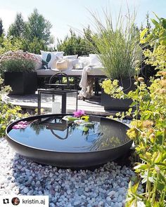 Water is always a fabulous feature in an outdoor garden Small Water Gardens, Back Gardens, Outdoor Gardens, Outdoor Spaces, Outdoor Living, Outdoor Decor, Terrace Garden, Plein Air, Patio Design