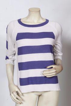 Rondina Purple & White Striped 3/4 Sleeve Pullover Top Nwt Sz Xs S M L Xl $125