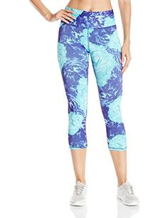 Champion Womens Absolute Capri Legging with Smoothtec Waistband Space Purple Glowing Floral XSmall >>> To view further for this item, visit the image link.