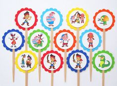 Jake and the Neverland Pirates Cupcake Toppers Birthday Party