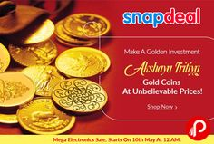 Snapdeal brings Gold Coins & Bars on #AkshayaTritiya. #GoldCoins at Unbelievable Prices.  http://www.paisebachaoindia.com/gold-coins-bars-on-akshaya-tritiya-snapdeal/