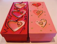 Cute Craft For Storage. Decorated Painted Shoe Boxes