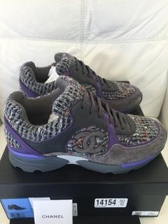 Get the must-have athletic shoes of this season! These Chanel Purple Gray Tweed Suede Sneakers Tennis Trainers 37 Sneakers Size US 7 Regular (M, B) are a top 10 member favorite on Tradesy. Purple Sneakers, Purple Shoes, Purple Suede, Grey Shoes, Purple Grey, Gray, Chanel Sneakers, Chanel Shoes, Suede Sneakers