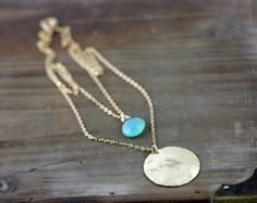 Double Strand Gold Necklace Aqua Chalcedony Layering by true2u