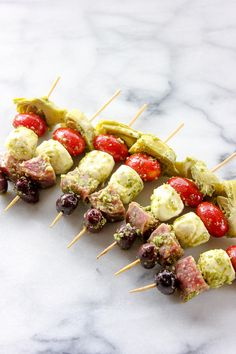Easy antipasto skewers are a perfect party appetizer that can be made ahead of time and will disappear in minutes.