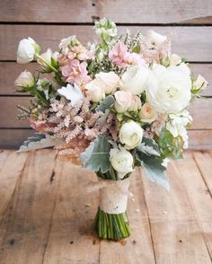 Ranunculus and astilbe paired with lamb's ears for a gorgeous, rustic bouquet!