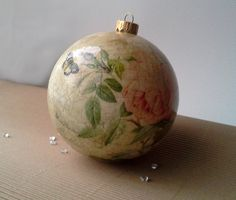 Christmas baubles are decorated with decoupage technique and then repeatedly varnished. After varnishing, balls are additionally decorated. These ornaments will add charm t... #housewares