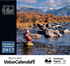 2017 Fishing and Hunting Calendar |  Low Cost Staple Bound; Drop Ad Imprint Calendars, Affordable Custom Wall Calendars, cheap promotional products, under $1, cheap calendars, galleria calendars, advertising business calendar, printed company logo, marketing tool, advertising promotional product, cheap advertising, 2017 wall calendar, 2017 appointment calendar, fishing calendar, fishing tips, hunting tips, hunting, fishermans calendar, www.valuecalendars.com