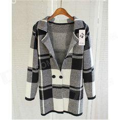 LJ-01 Women's Plaid Pattern Fashionable Classic Long Coat - Black + Grey