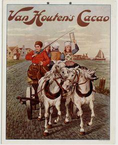 Paard en wagen, rijdend langs de Zuiderzeekust. Eén man en drie vrouwen in klederdracht. Dorpje en schip op de achtergrond. Druk: Bakker. Koog-Zaandijk. Zaans Archief