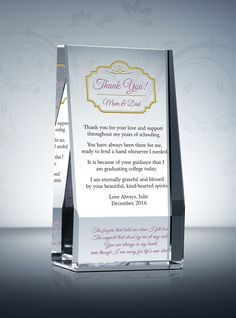 thank you gift plaque for