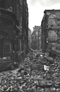 U.K. The streets of a ruined London after The Blitz, 1940.