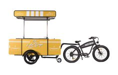 Our Hot Dog Cart towed behind Food Cart on wheels, our hard-working electric bicycle. #hotdogcart #hotdogBike