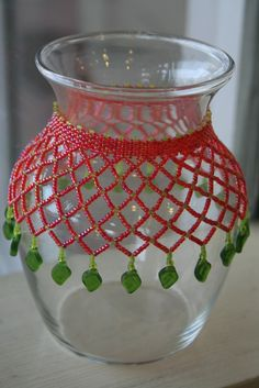 Netted vase or wine bottle     Learn how to stitch together fancy beaded bottle nets!  Drape a darling colorful net over a wine bottle or vase. They make impressive gifts for anyone.    March   Saturday 30, 12-2:30  April   Sunday 7, 1-3:30