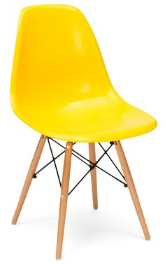 Eames style bright yellow plastic retro side chair, £50 Fusionliving.co.uk Chaise Dsw, Table Design, Charles Eames, Side Chairs, Retro, Furniture, Bright Yellow, Home Decor